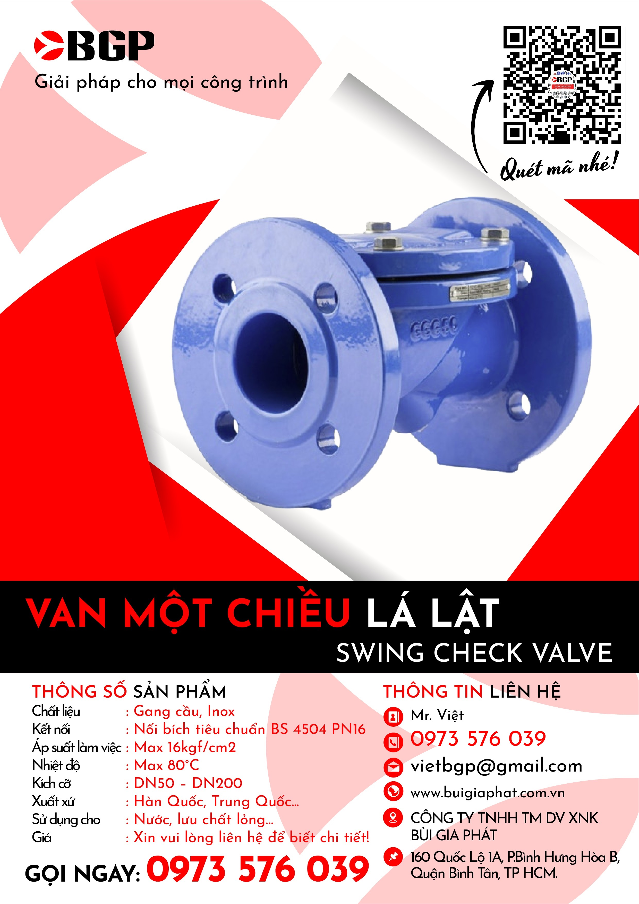 Van một chiều lá lật - Swing check valve
