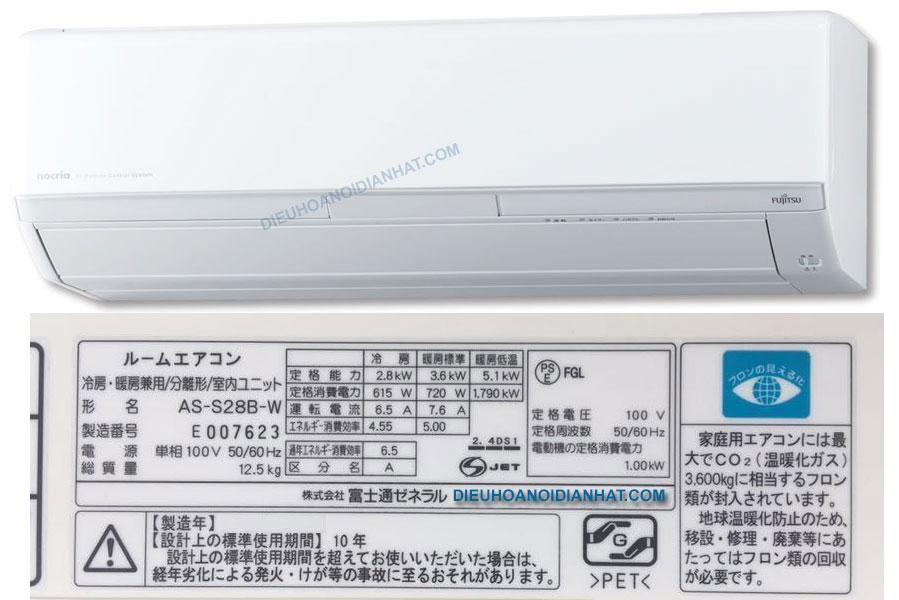 Điều hòa nội địa Nhật Fujitsu AS-S28B đẹp 12.000BTU