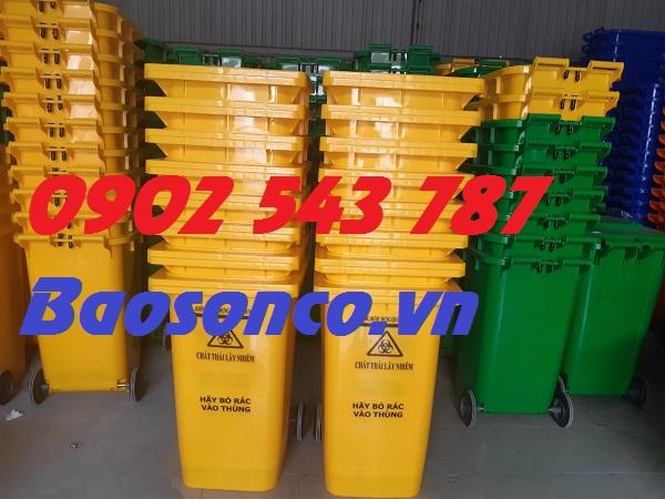 Thùng rác 120 lít nhựa HDPE công cộng