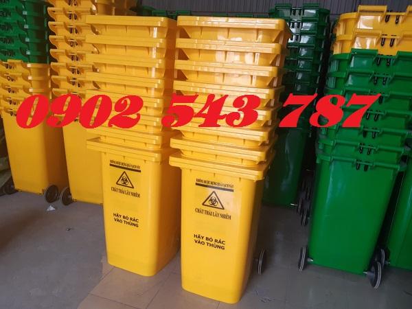 Thùng rác công cộng 240 lít màu xanh lá