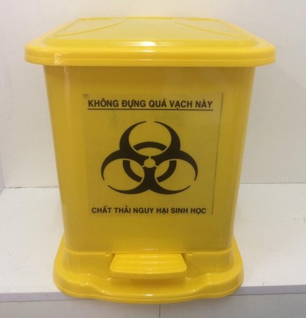 Thùng rác y tế chân đạp màu vàng 30 lít