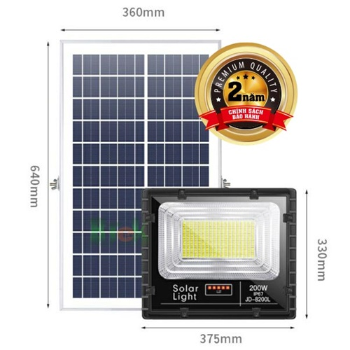 Đèn pha led năng lượng mặt trời 200W JD-8200L - Bitek Solar