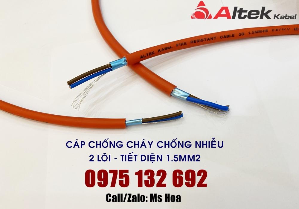 Cáp chống cháy 2x1.5 tiêu chuẩn IEC, Altek Kabel Fire Resistant Cable 2G 1.5MM + E