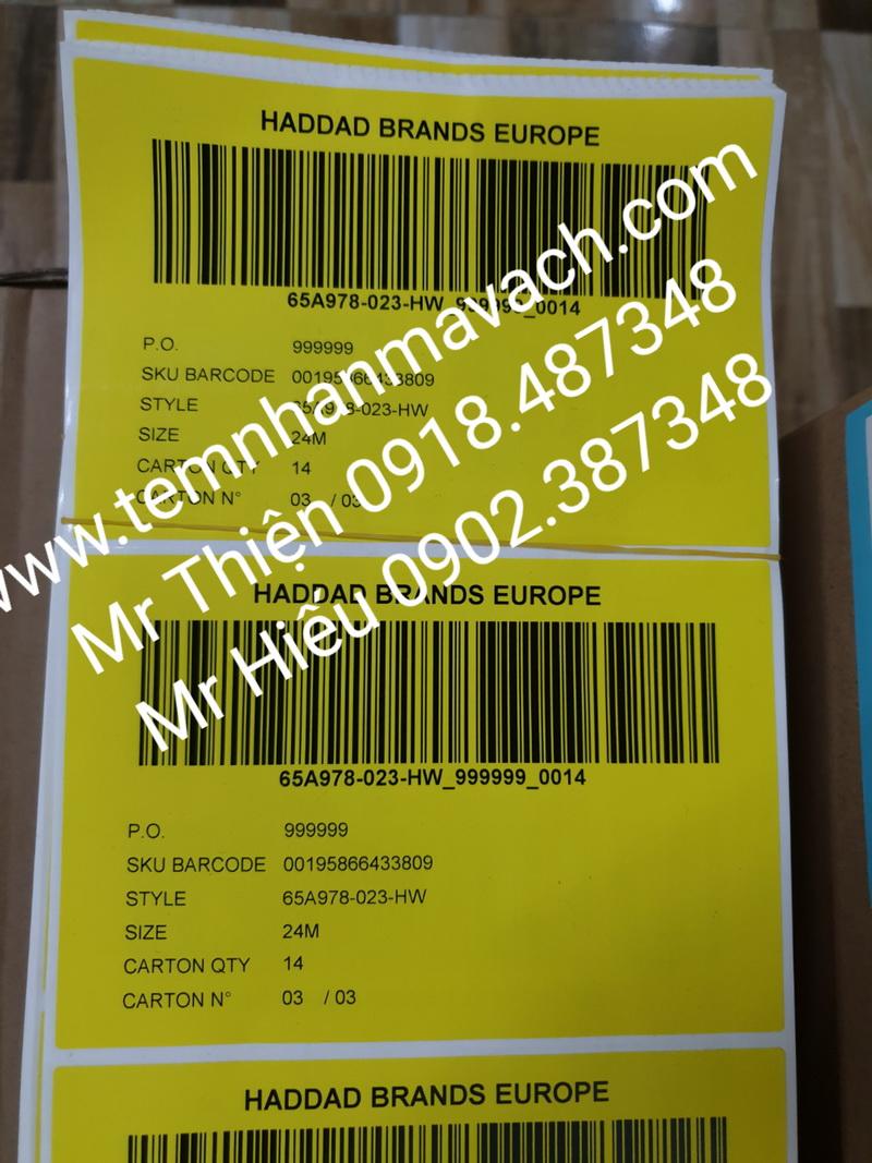 Yellow labels, tem Haddad,tem ICC, tem cho ngành may mặc