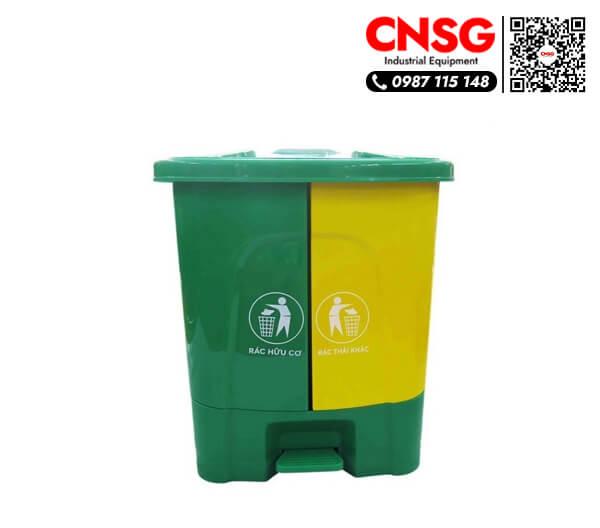 Thùng rác nhựa 40 lít hai ngăn gia đình