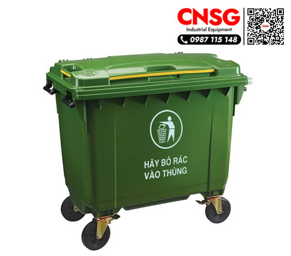 Thùng rác nhựa 660 lít có nắp giá rẻ