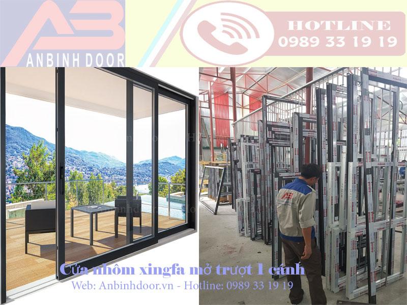 Cửa đi nhôm Xingfa mở trượt 1 cánh cao cấp giá tốt tại Bắc Ninh