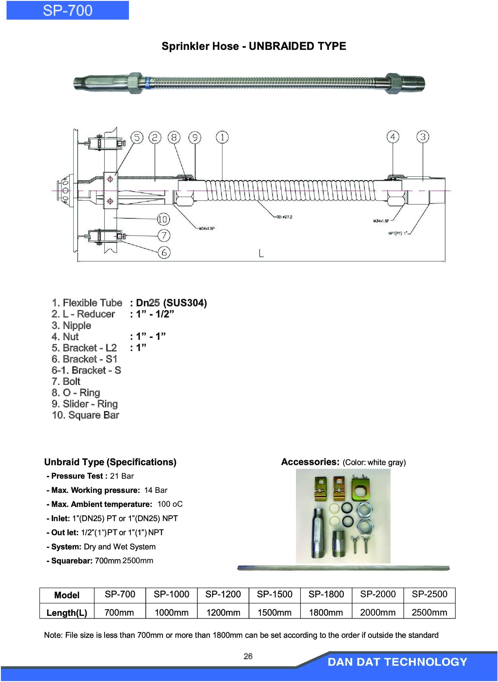 Catalogue ống mềm nối đầu phun sprinkler