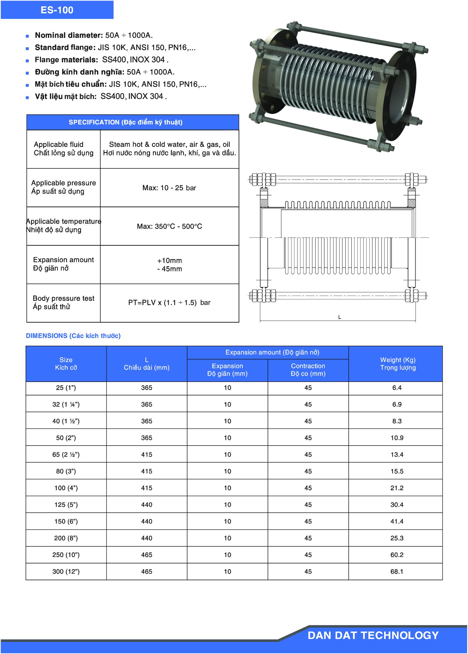 Khớp giãn nở model ES-100