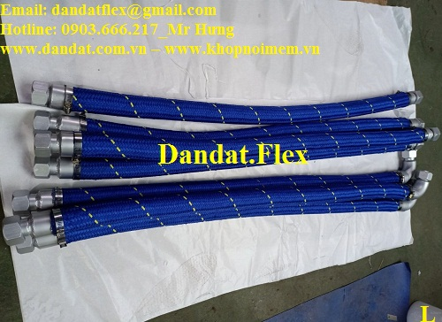 Khớp nối mềm ren côn bọc vải len xanh chuyên dùng cho nhà máy thép