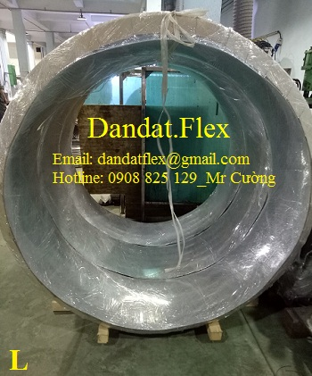 Ống mềm chịu nhiệt đàn hồi (Ống bellows 1.5lyx 1 lớp) DN1200x400, có 2 cổ 70x2 - ống giãn nở chịu nhiệt inox